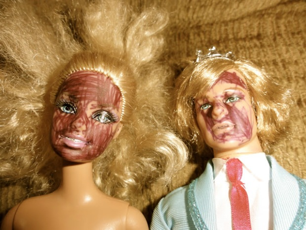 Barbie and Ken, the prom king, get inked in the face.